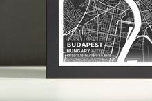 Framed Map Poster of Budapest Hungary - Subtle Contrast - Budapest Map Art