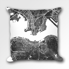 Map Throw Pillow of Hong Kong China - Subtle Contrast