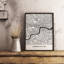 Premium Map Poster of London England - Simple Black Ink - Unframed