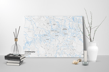 Gallery Wrapped Map Canvas of Chengdu Sichuan - Subtle Ski Map - Chengdu Map Art