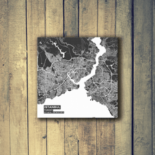 Gallery Wrapped Map Canvas of Istanbul Turkey - Subtle Contrast