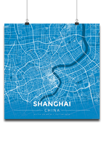 Premium Map Poster of Shanghai China - Modern Blue Contrast - Unframed