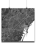 Premium Map Poster of Barcelona Spain - Subtle Contrast - Unframed
