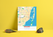 Premium Map Poster of Miami Florida - Modern Colorful - Unframed - Miami Map Art