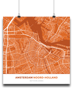 Premium Map Poster of Amsterdam Noord-Holland - Simple Burnt - Unframed