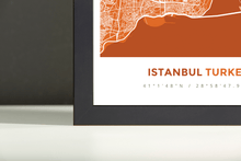 Framed Map Poster of Istanbul Turkey - Simple Burnt