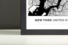 Framed Map Poster of New York United States - Simple Black Ink