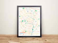 Framed Map Poster of Chengdu Sichuan - Subtle Colorful - Chengdu Map Art