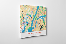 Gallery Wrapped Map Canvas of New York United States - Simple Colorful