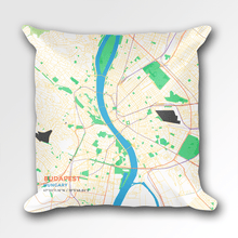 Map Throw Pillow of Budapest Hungary - Subtle Colorful - Budapest Map Art
