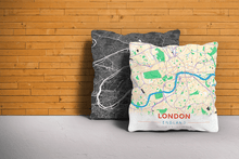 Map Throw Pillow of London England - Modern Colorful
