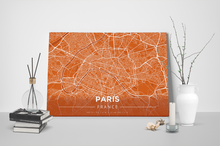 Gallery Wrapped Map Canvas of Paris France - Modern Burnt