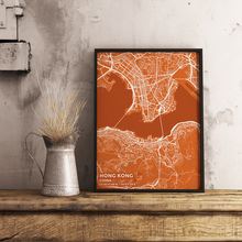 Premium Map Poster of Hong Kong China - Subtle Burnt - Unframed