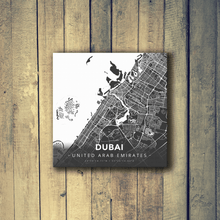 Gallery Wrapped Map Canvas of Dubai United Arab Emirates - Modern Contrast
