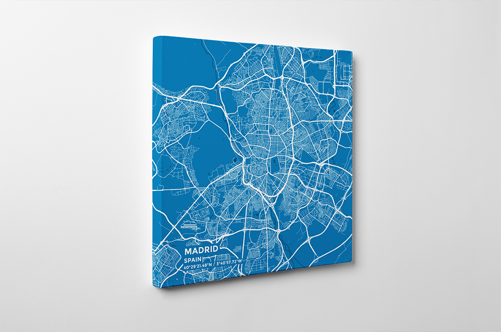 Gallery Wrapped Map Canvas of Madrid Spain - Subtle Blue Contrast - Madrid Map Art