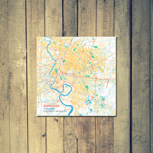 Gallery Wrapped Map Canvas of Bangkok Thailand - Subtle Colorful