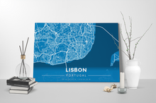 Gallery Wrapped Map Canvas of Lisbon Portugal - Modern Blue Contrast - Lisbon Map Art