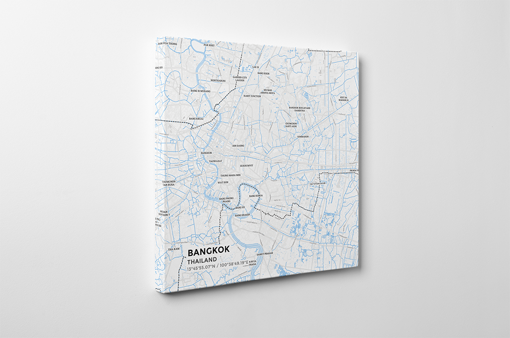 Gallery Wrapped Map Canvas of Bangkok Thailand - Subtle Ski Map