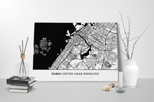 Gallery Wrapped Map Canvas of Dubai United Arab Emirates - Simple Black Ink