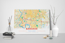 Gallery Wrapped Map Canvas of Bangkok Thailand - Modern Colorful