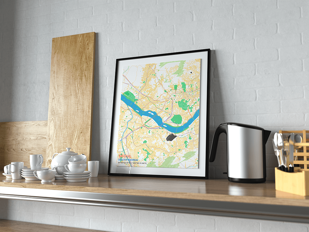 Premium Map Poster of Seoul South Korea - Subtle Colorful - Unframed
