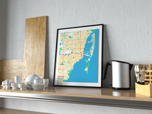 Premium Map Poster of Miami Florida - Subtle Colorful - Unframed - Miami Map Art