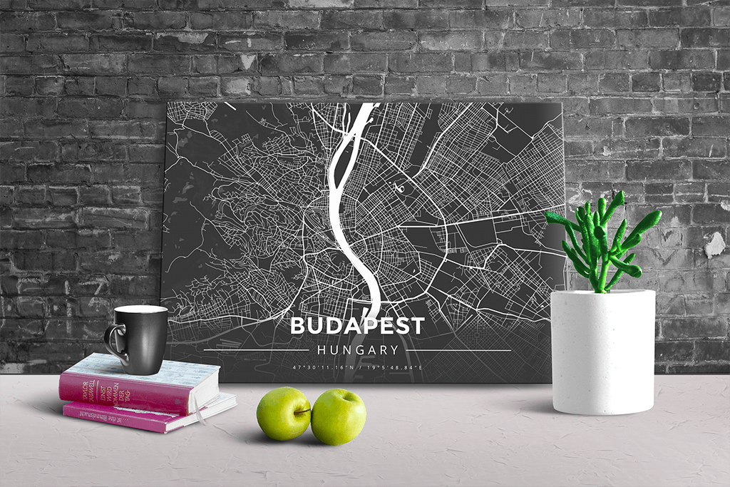 Gallery Wrapped Map Canvas of Budapest Hungary - Modern Contrast - Budapest Map Art