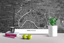 Gallery Wrapped Map Canvas of Paris France - Simple Contrast