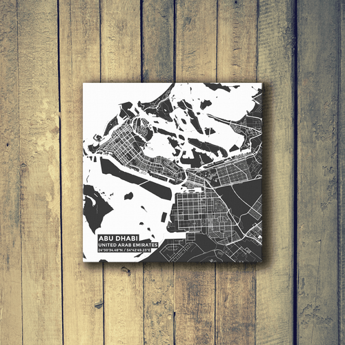 Gallery Wrapped Map Canvas of Abu Dhabi United Arab Emirates - Subtle Contrast - Abu Dhabi Map Art