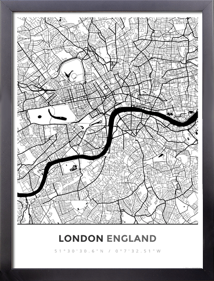 Framed Map Poster of London England - Map Art & Travel Decor – MapPrints