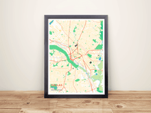 Framed Map Poster of Dallas Texas - Subtle Colorful - Dallas Map Art