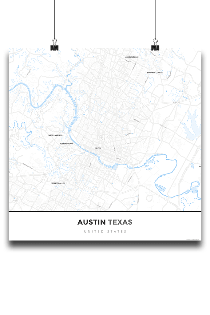 Premium Map Poster Of Austin Texas Map Art Travel Decor Mapprints
