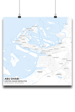 Premium Map Poster of Abu Dhabi United Arab Emirates - Subtle Ski Map - Unframed - Abu Dhabi Map Art