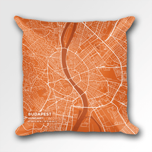 Map Throw Pillow of Budapest Hungary - Subtle Burnt - Budapest Map Art