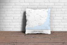 Map Throw Pillow of Lisbon Portugal - Simple Ski Map - Lisbon Map Art