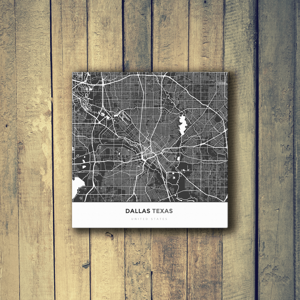Gallery Wrapped Map Canvas Of Dallas Texas Map Art Travel Decor