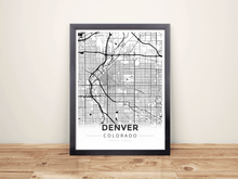 Framed Map Poster of Denver Colorado - Modern Black Ink - Denver Map Art