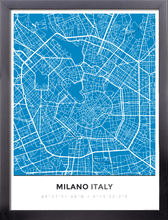 Framed Map Poster of Milano Italy - Simple Blue Contrast