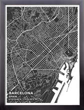 Framed Map Poster of Barcelona Spain - Subtle Contrast