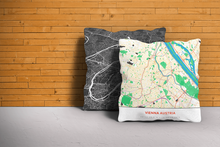Map Throw Pillow of Vienna Austria - Simple Colorful