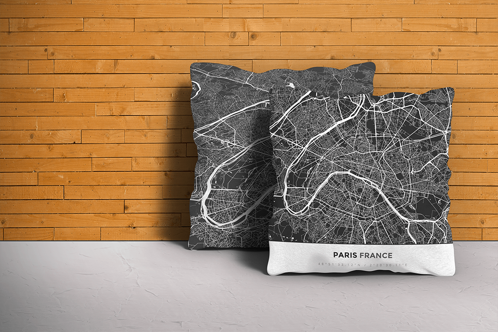 Map Throw Pillow of Paris France - Simple Contrast