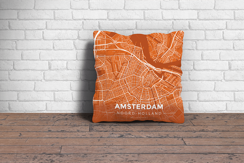 Map Throw Pillow of Amsterdam Noord-Holland - Modern Burnt