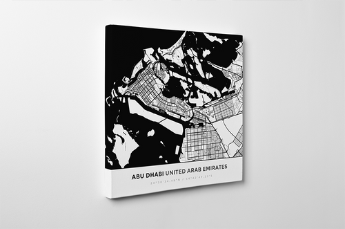 Gallery Wrapped Map Canvas of Abu Dhabi United Arab Emirates - Simple Black Ink - Abu Dhabi Map Art
