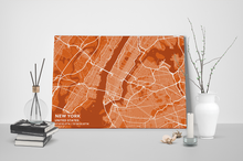 Gallery Wrapped Map Canvas of New York United States - Subtle Burnt