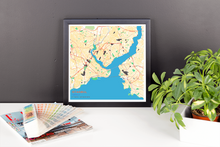 Framed Map Poster of Istanbul Turkey - Subtle Colorful
