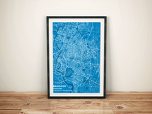 Premium Map Poster of Bangkok Thailand - Subtle Blue Contrast - Unframed