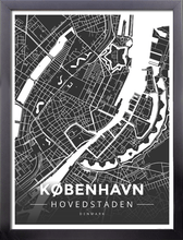 Framed Map Poster of Copenhagen Denmark - Modern Contrast - Copenhagen Map Art