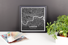 Framed Map Poster of London England - Modern Contrast