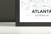 Framed Map Poster of Atlanta Georgia - Modern Ski Map - Atlanta Map Art