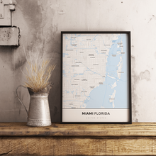 Premium Map Poster of Miami Florida - Simple Ski Map - Unframed - Miami Map Art